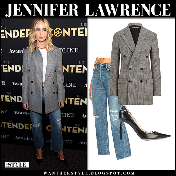 Jennifer Lawrence in grey checked jacket ralph lauren, ripped jeans jean atelier and black pumps altuzarra fall fashion style november 4 2017
