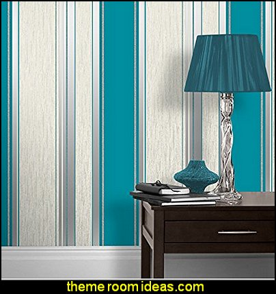 Striped Wallpaper Teal / White / Silver