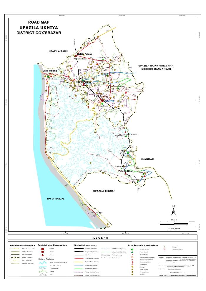 Ukhiya Upazila Road Map Cox's Bazar District Bangladesh