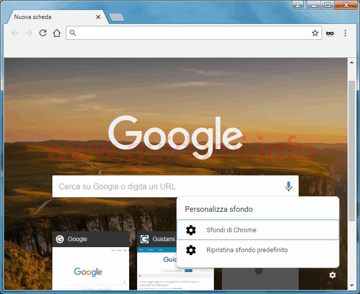 Mettere sfondo google chrome