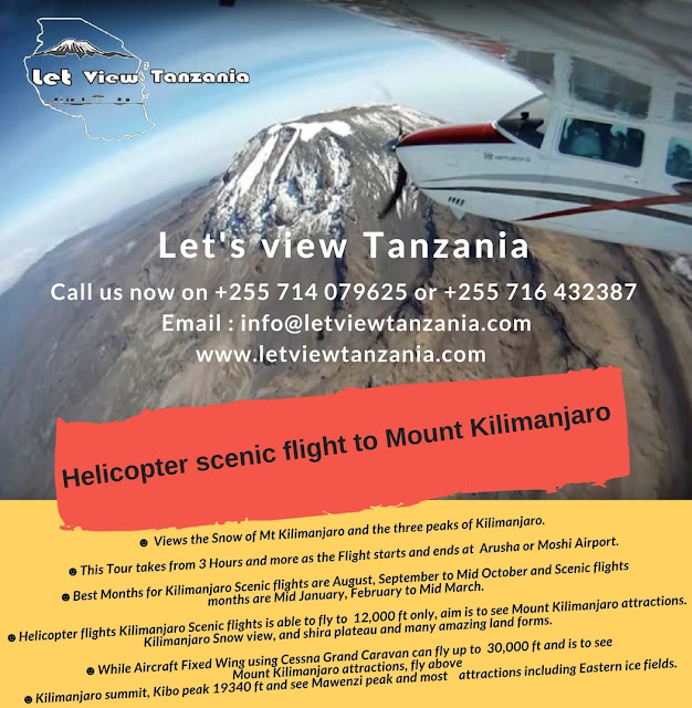 Helicopter scenic flight to Mount Kilimanjaro