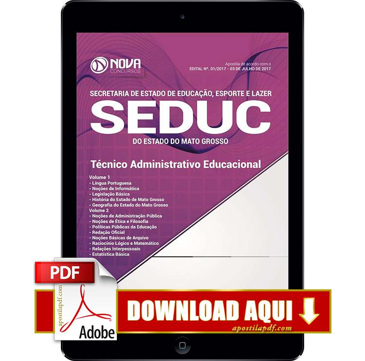 Apostila SEDUC MT 2017 PDF Download Técnico Administrativo Educacional