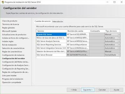 Instalación de SQL Server 2014, Configuración del servidor