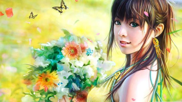 GAMBAR KARTUN GADIS TERSENYUM WALLPAPER HD TERBARU Animasi Korea