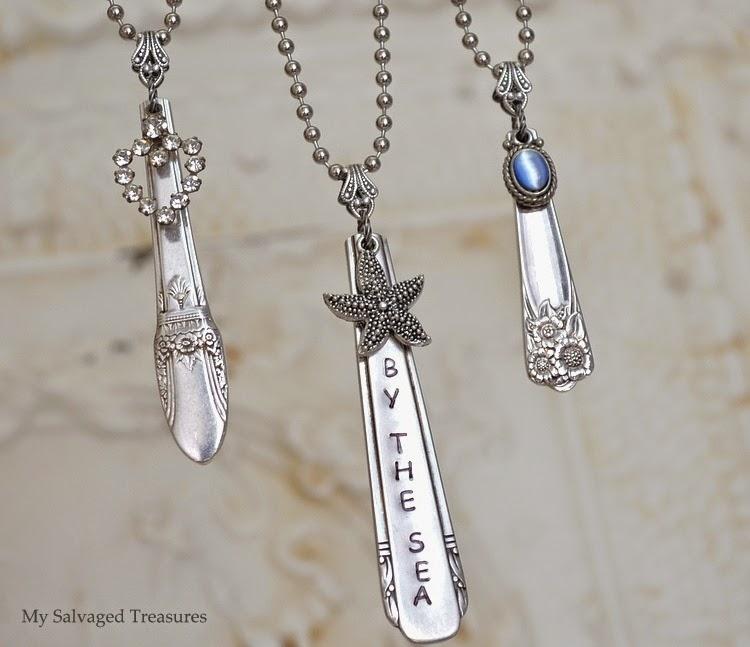vintage DIY necklaces made from silverware handles