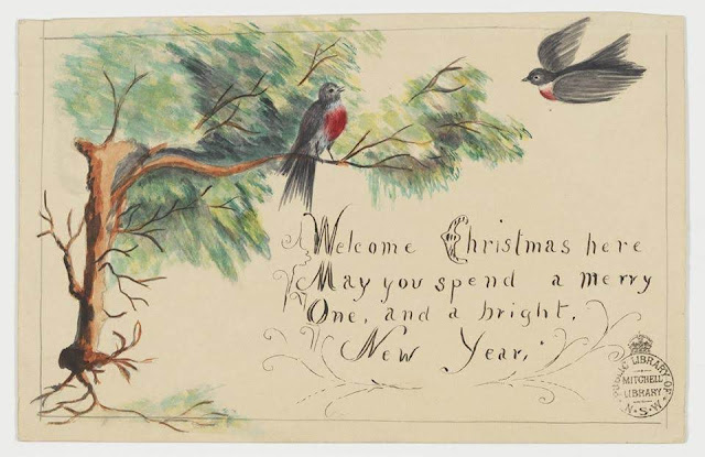 """Christmas Card design depicting two red-breasted black birds in a tree with the words """"Welcome Christmas here.  May you spend a Merry One, and a Bright New Year""""."""