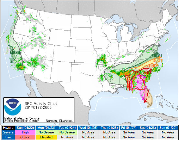 In Fact Most Of The Southeast Is Under A High Risk For Severe Storms And Damaging Long Track Twisters