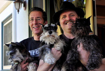 Jamie Cherry and Jim Gunther and their Three Miniature Schnauzers at The Inn on First in Napa, CA - Photo by Taste As You Go