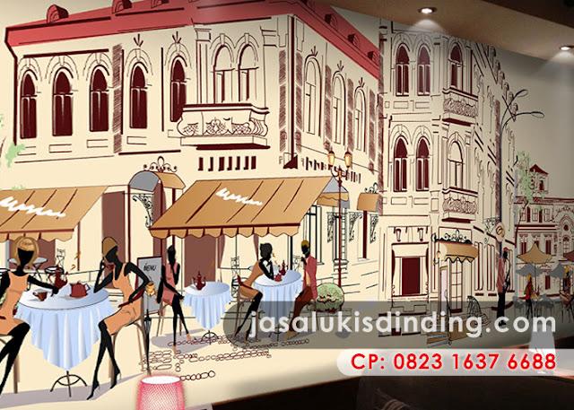 Café scene mural