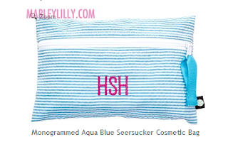 Monogrammed Aqua Seersucker Cosmetic Bag