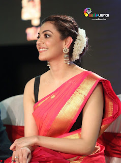 Kajal Agarwal in Red Saree Sleeveless Blouse Stunning Pics  Exclusive Galleries 002.jpg
