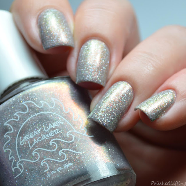 greige nail polish with rainbow shimmer