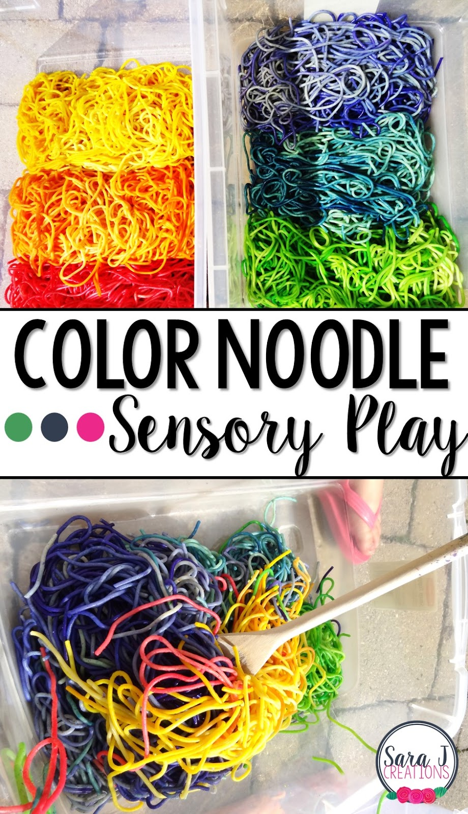 A fun colorful sensory bin with rainbow noodles.  Read all about my pinterest fail and pinterest wins with this activity.