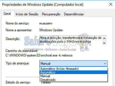 inicio automático do windows update