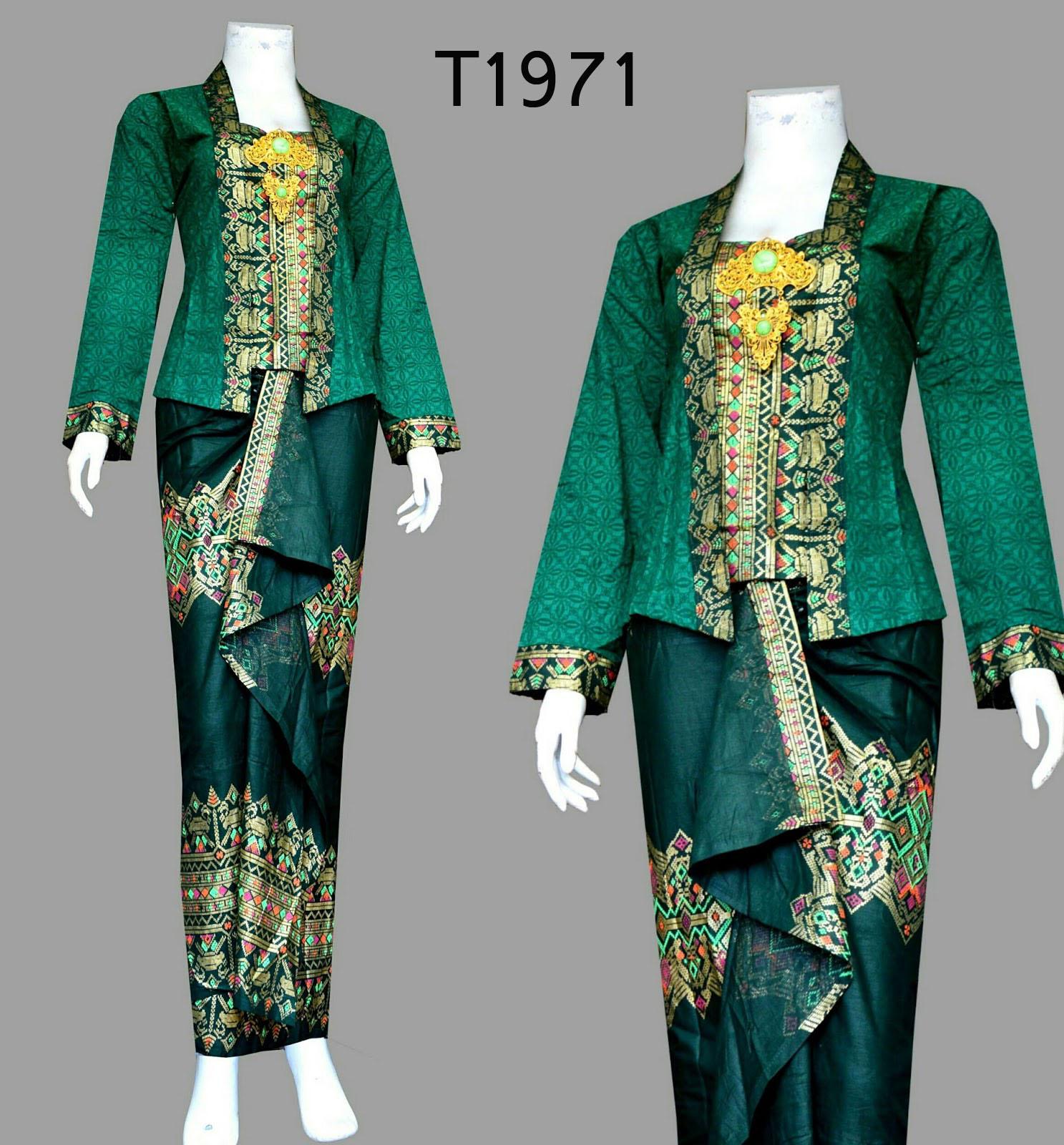 Baju Batik Wanita Setelan Rok Lilit Dan Blus T1971