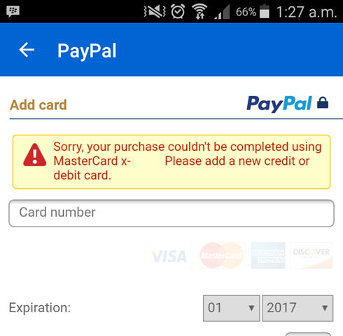 how to change credit card number on paypal