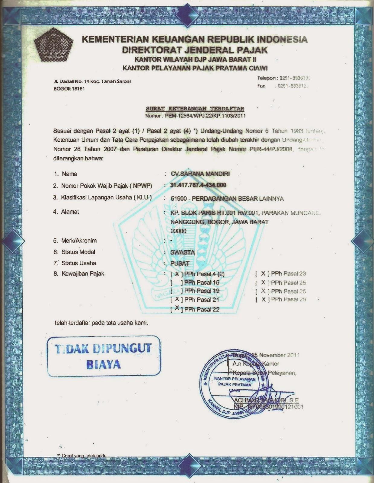 Sarana Mandiri Surat Keterangan Terdaftar Wajib Pajak