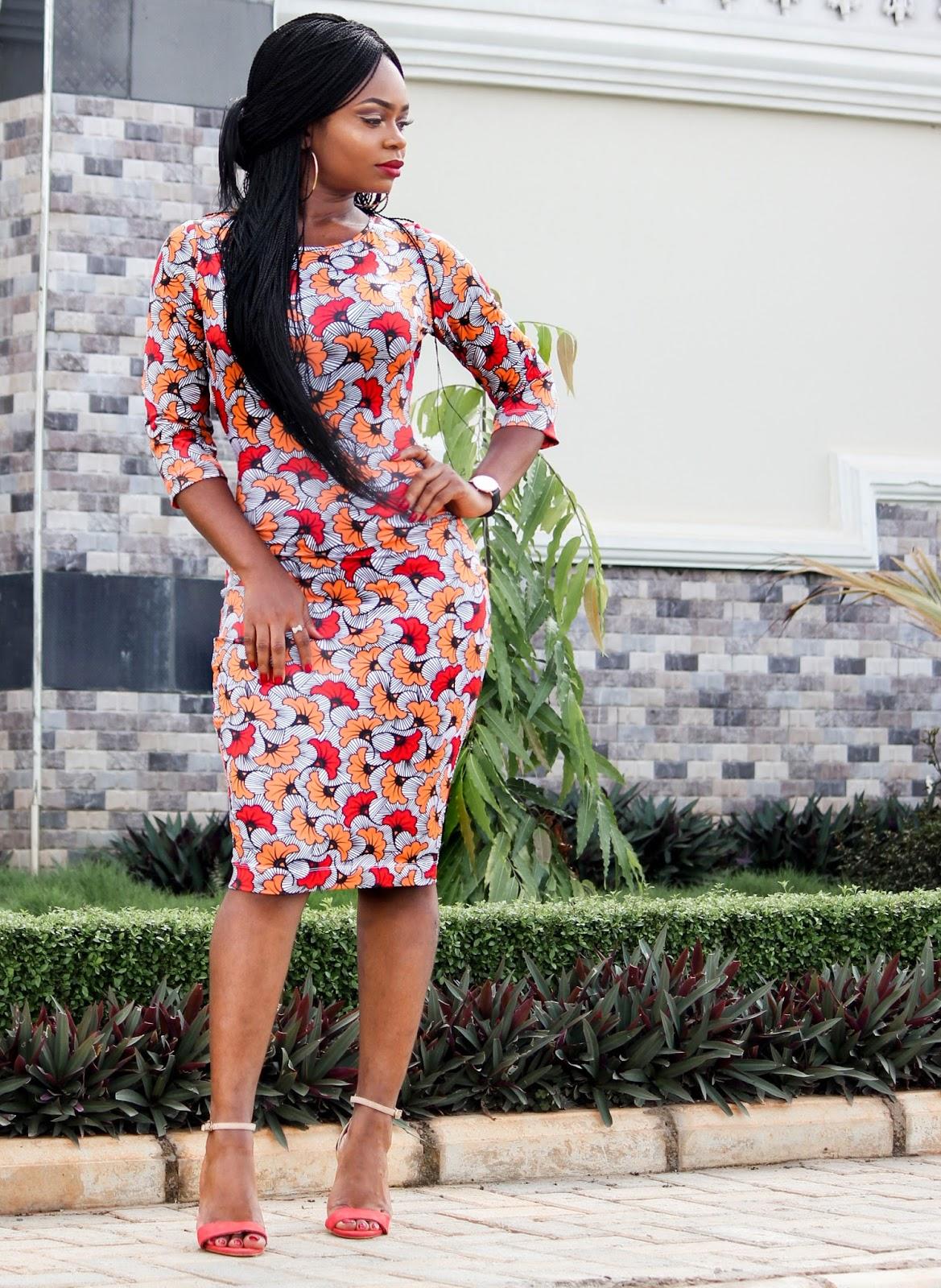 AFRICAN PRINT WITH A TWIST - Zakaara African Custom Stretch Print  Dress  (Kpotuba Print ))