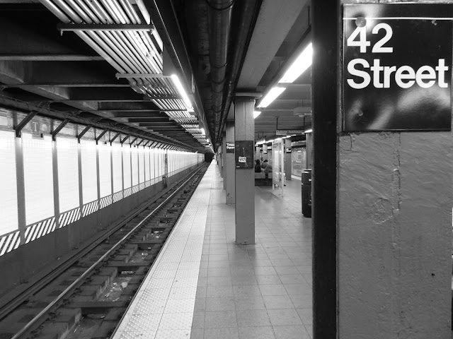 Black and White 42 Street Subway Tunnel View