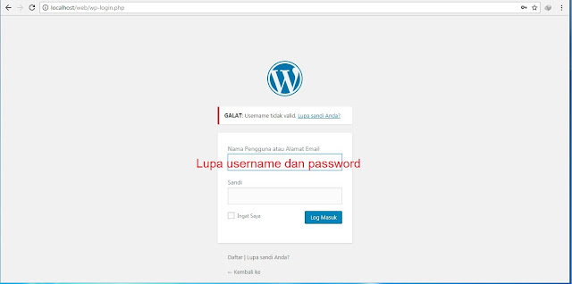 Lupa username dan password wordpress