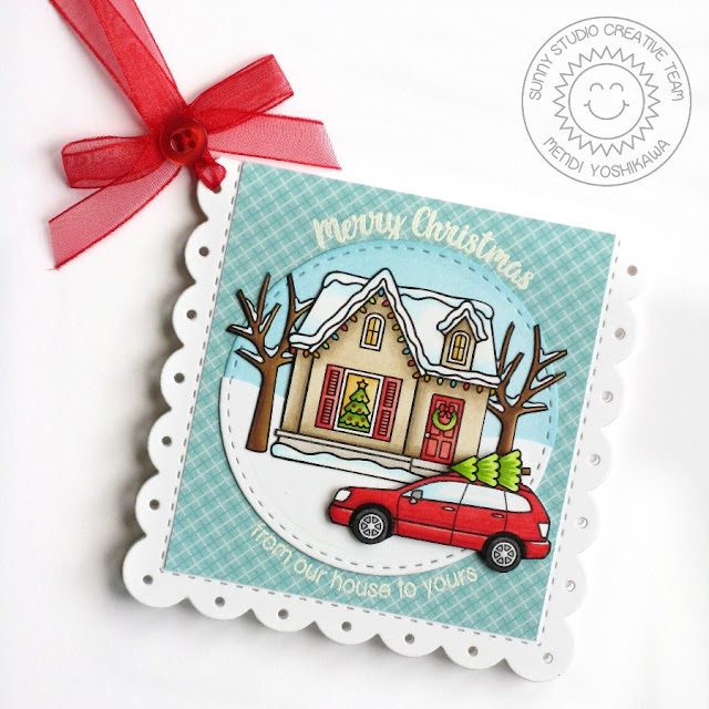 Sunny Studio Stamps: Christmas Home Neighbor Gift Enclosure Holiday Card