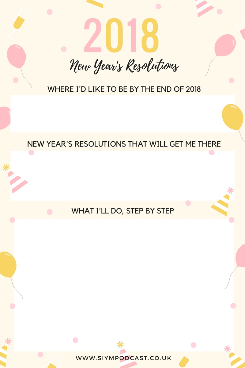 2018 new year's resolution free printable