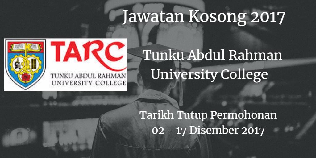 Jawatan Kosong TARUC 02 - 17 Disember 2017
