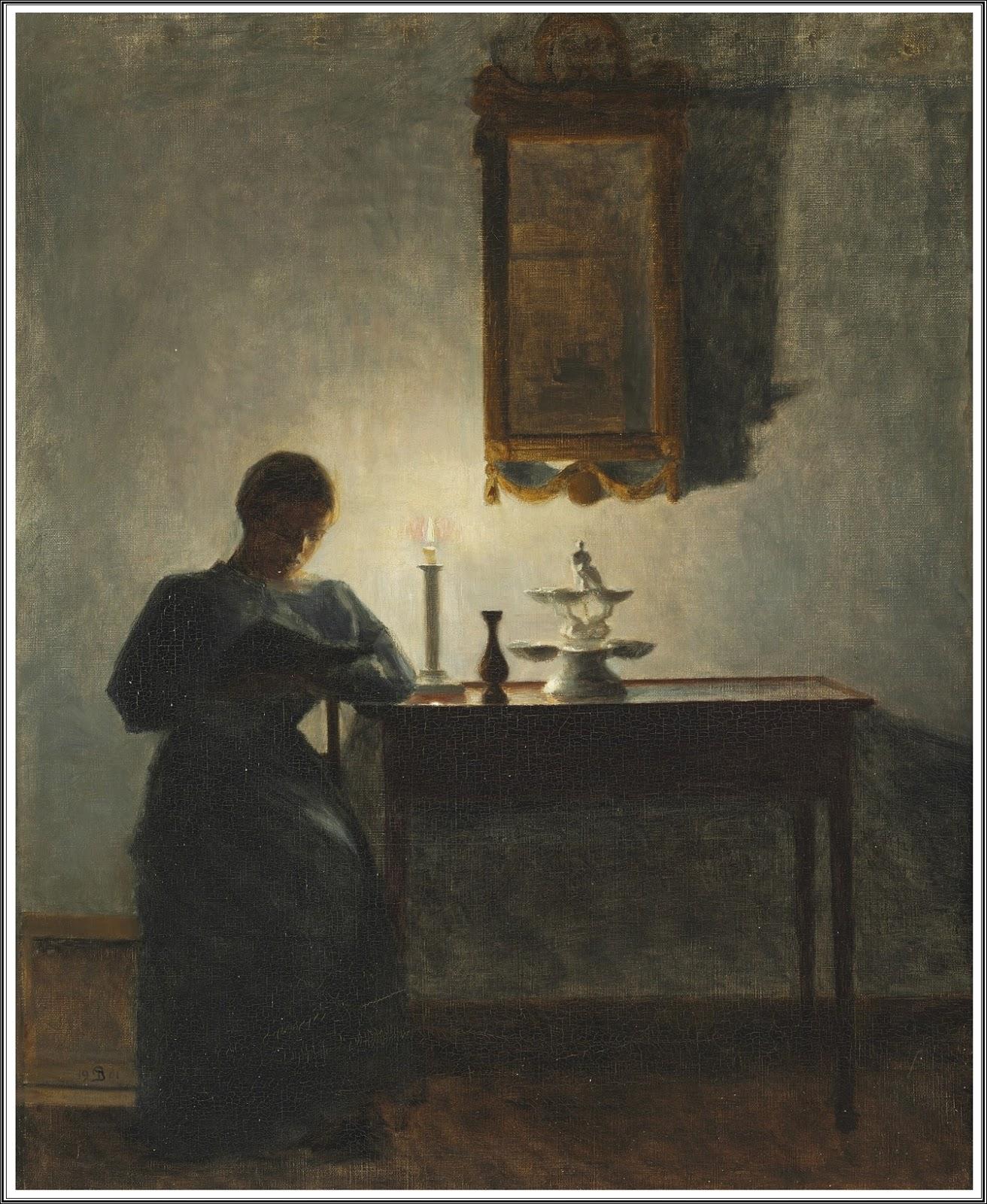 peter vilhelm ilsted 1861 1933 intrieur avec une jeune femme lisant la lueur dune bougie 1901