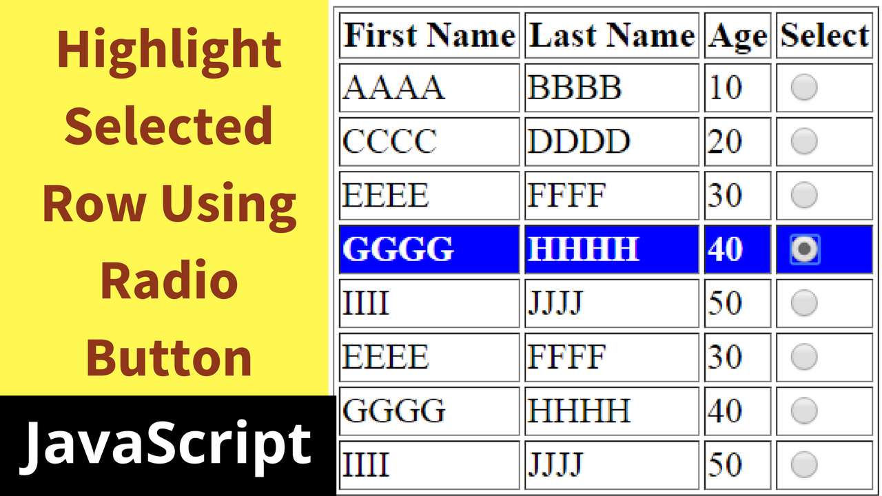 Javascript highlight checked table row c java php for Table to html