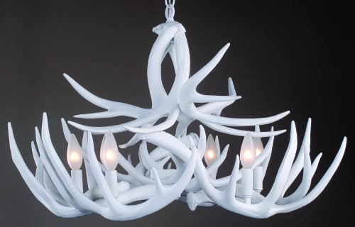 white rustic antler chandelier