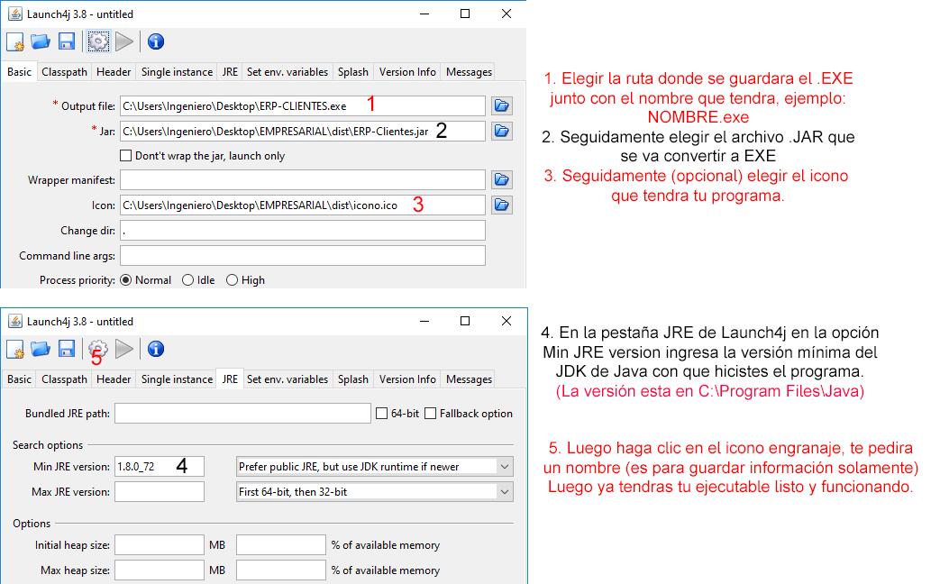Convertir jar a ejecutable exe con Launch4j - Sistemas TI