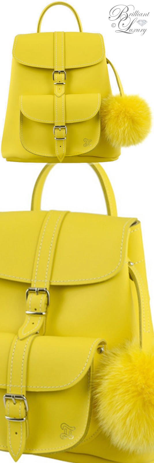 Brilliant Luxury ♦ Grafea yellow sunny fur pom backpack bag