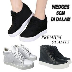 PREMIUM SNEAKERS Hidden Wedges Wanita Putih Hitam BD06 Original Brand