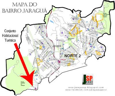 Mapa com a posição do Conjunto Habitacional Turística dentro do bairro Jaraguá