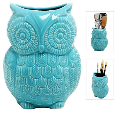 Owl Design Ceramic Cooking Utensil Holder