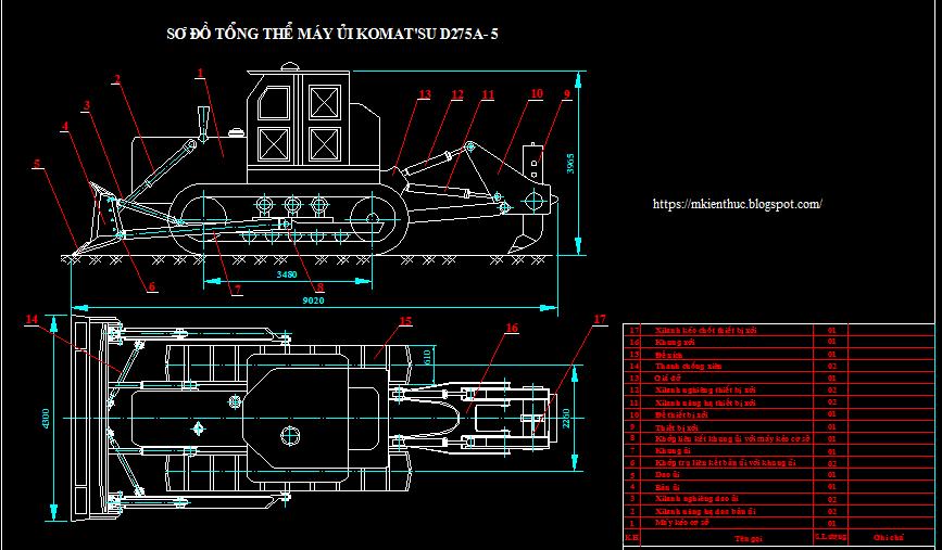 Bản vẽ máy ủi KOMATSU D275A-5