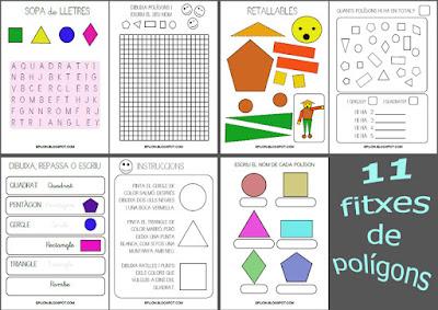 11 fitxes de polígons per a educació infantil i cicle inicial de primària