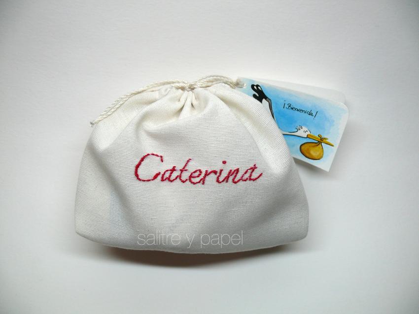 bolsa bordada nombre bebé