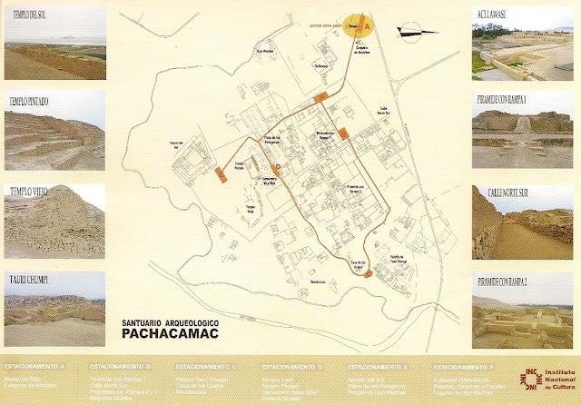 Mapa de Pachacamac, Perú