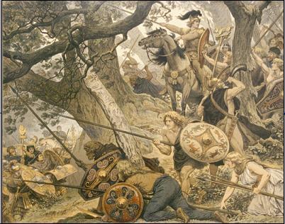 Knackfuss, Arminio, desastre, Varo, legiones, romanos, germanos, bosque, Teutoburgo, Saltus, Teutoburgiensis, Kalkriese, Roma, Germania