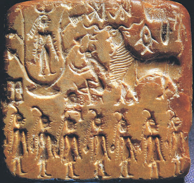 Mohenjo-Daro Seal No.430 (popularly called Sacrifice Seal) dated to c.2600 – 1900 BCE