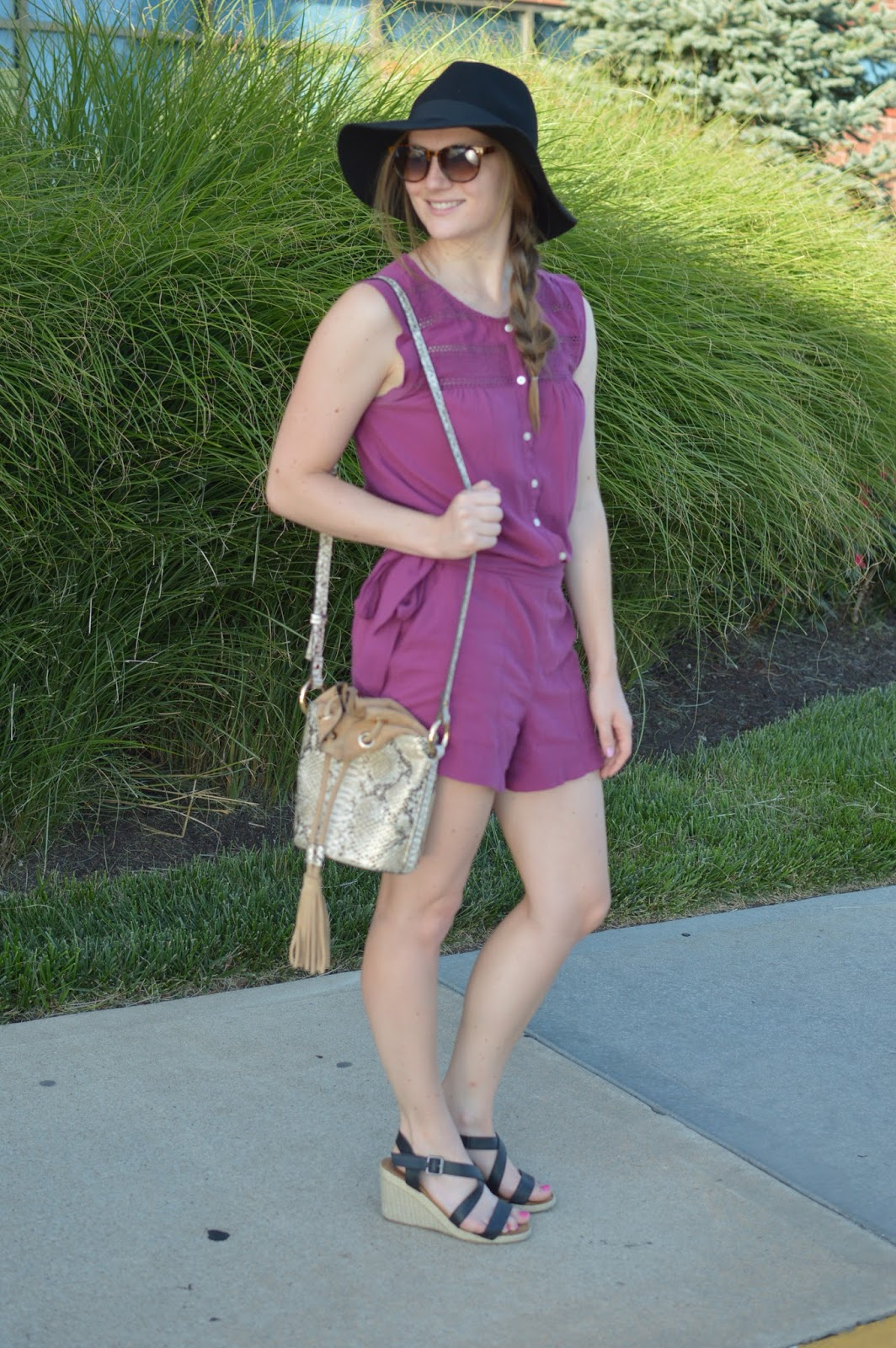 snakeskin bucket bag | your life styled | summer outfit ideas | cute outfits for summer | what to wear this summer | summer lookbook | lace burgundy romper | romper from loft