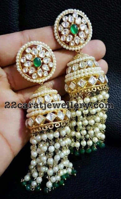 Kundan Earrings with Pearls Tassels