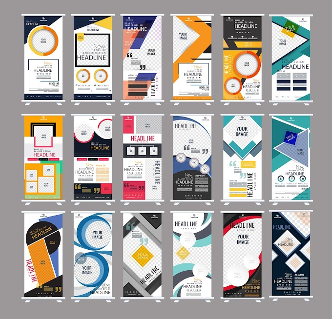 Corporate banner templates colorful modern abstract vertical shape Free vector