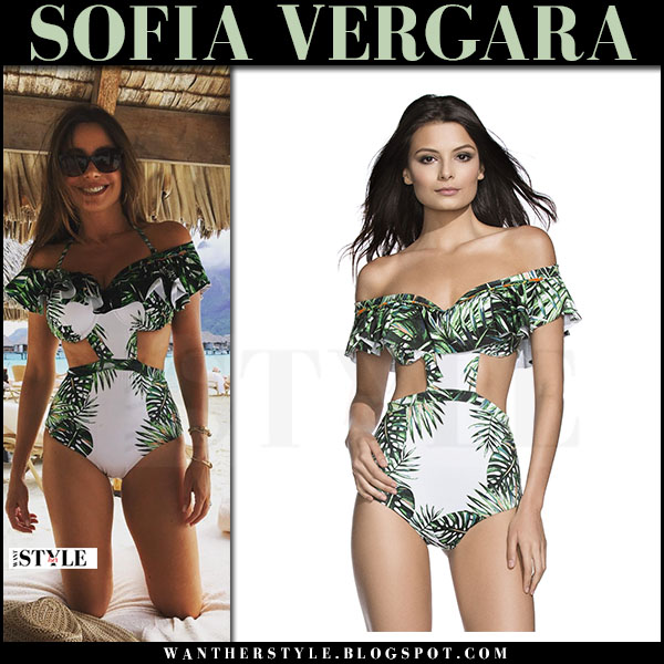 Sofia Vergara in white green palm print cutout swimsuit aqua bendita what she wore
