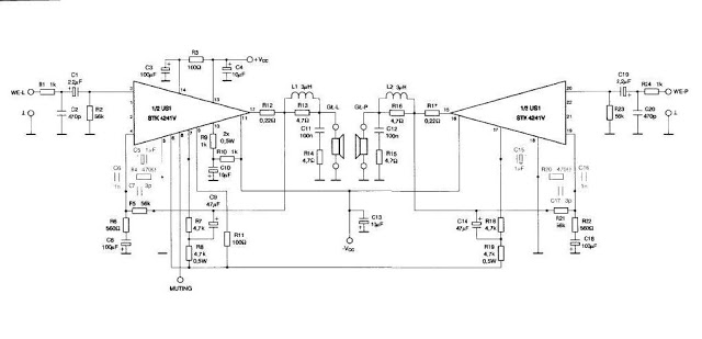 Simple Home Stereo Amplifier Circuit Diagram