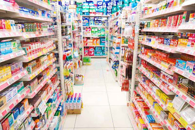 aisle, drug store, shelves