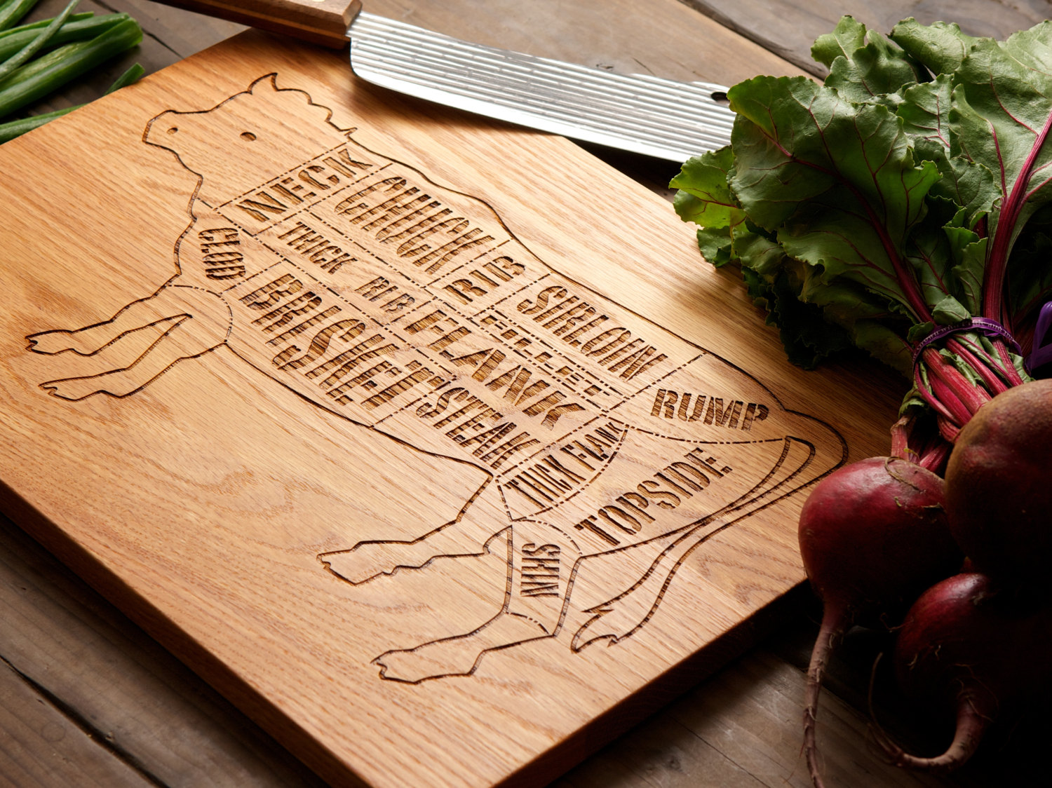 The Hip Subscription Wooden Beef Butcher Cutting Board