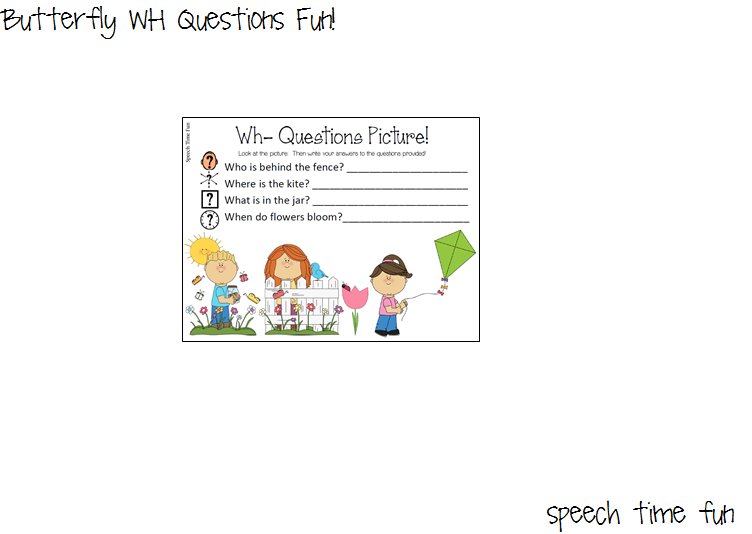 Reading Comprehension Stories: Butterfly WH Questions Fun!!