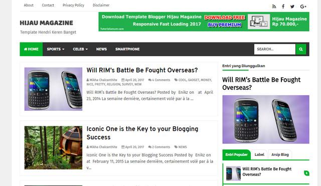 Hijau Magazine V1.0 Responsive Blogger Templates